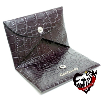 Continuita 康緹尼頭層牛皮美國鱷魚紋摺疊式收納名片夾