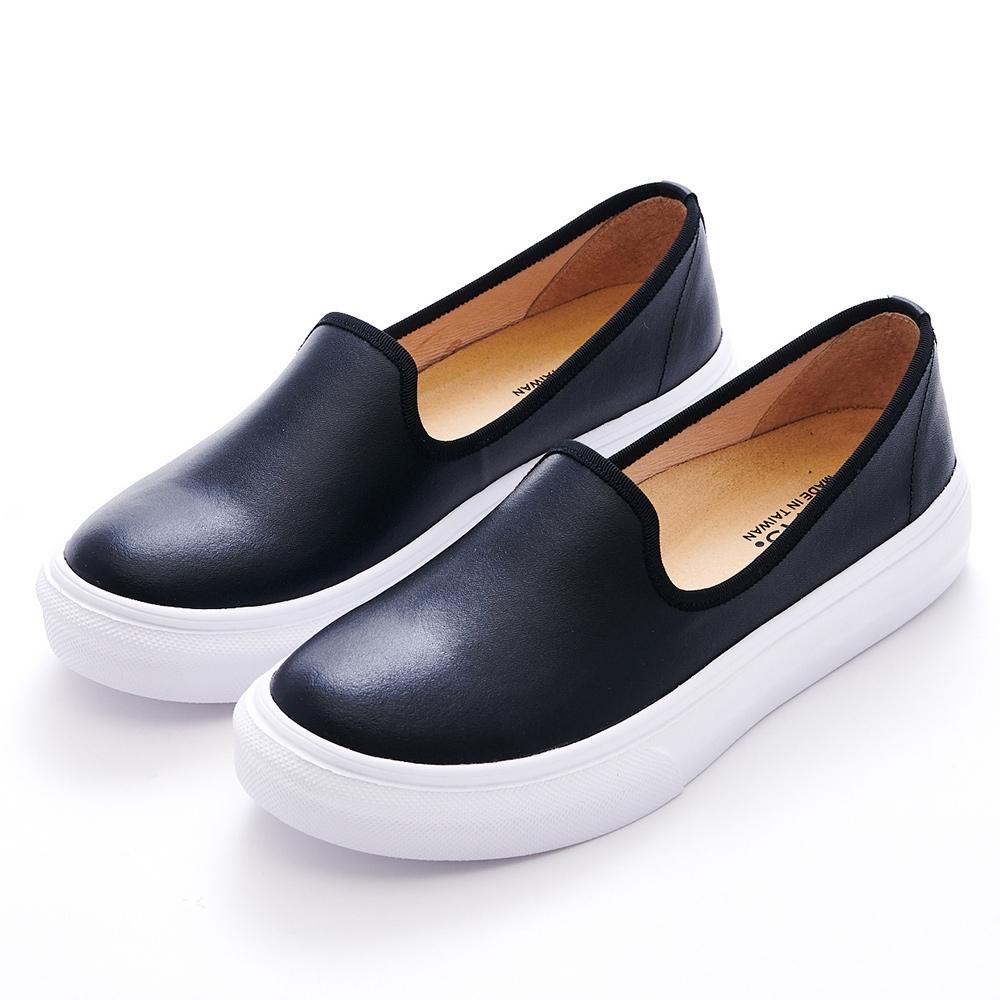 G.Ms. MIT晴雨兩穿-3M防水牛皮厚底懶人樂福鞋-黑色
