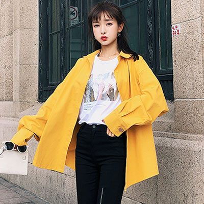馬卡龍色翻領排扣長袖襯衫 (共三色)-Kugi Girl