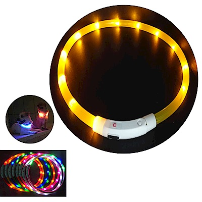 摩達客 LED寵物發光項圈(USB充電式 / 圓周70CM長/黃色燈條款)
