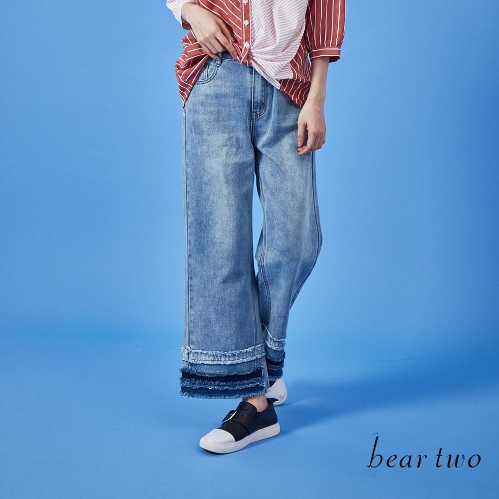 beartwo-剪接牛仔寬褲-藍