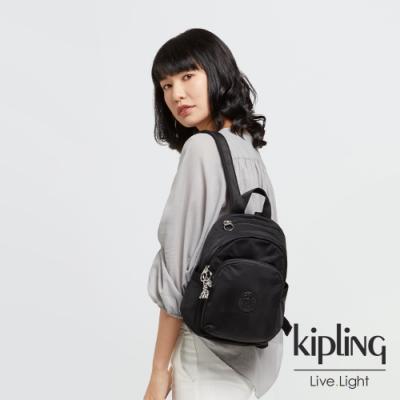 Kipling 低調沉穩黑拉鍊式小巧收納後背包-DELIA MINI