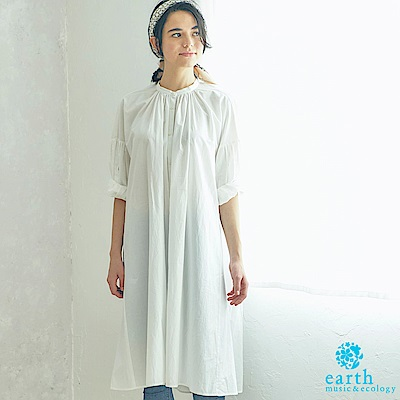 earth music 素面/條紋有機混紡無領落肩連身洋裝