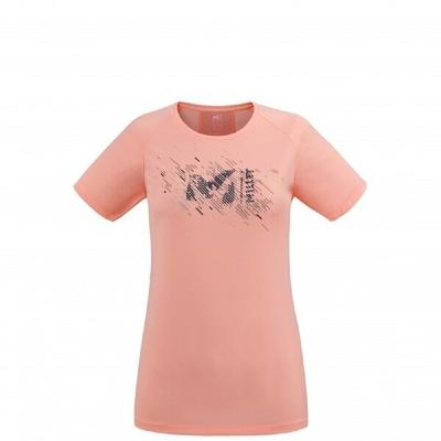 MILLET 女 LTK PRINT LIGHT 輕量彈性短袖排汗衣 粉-MIV86929170