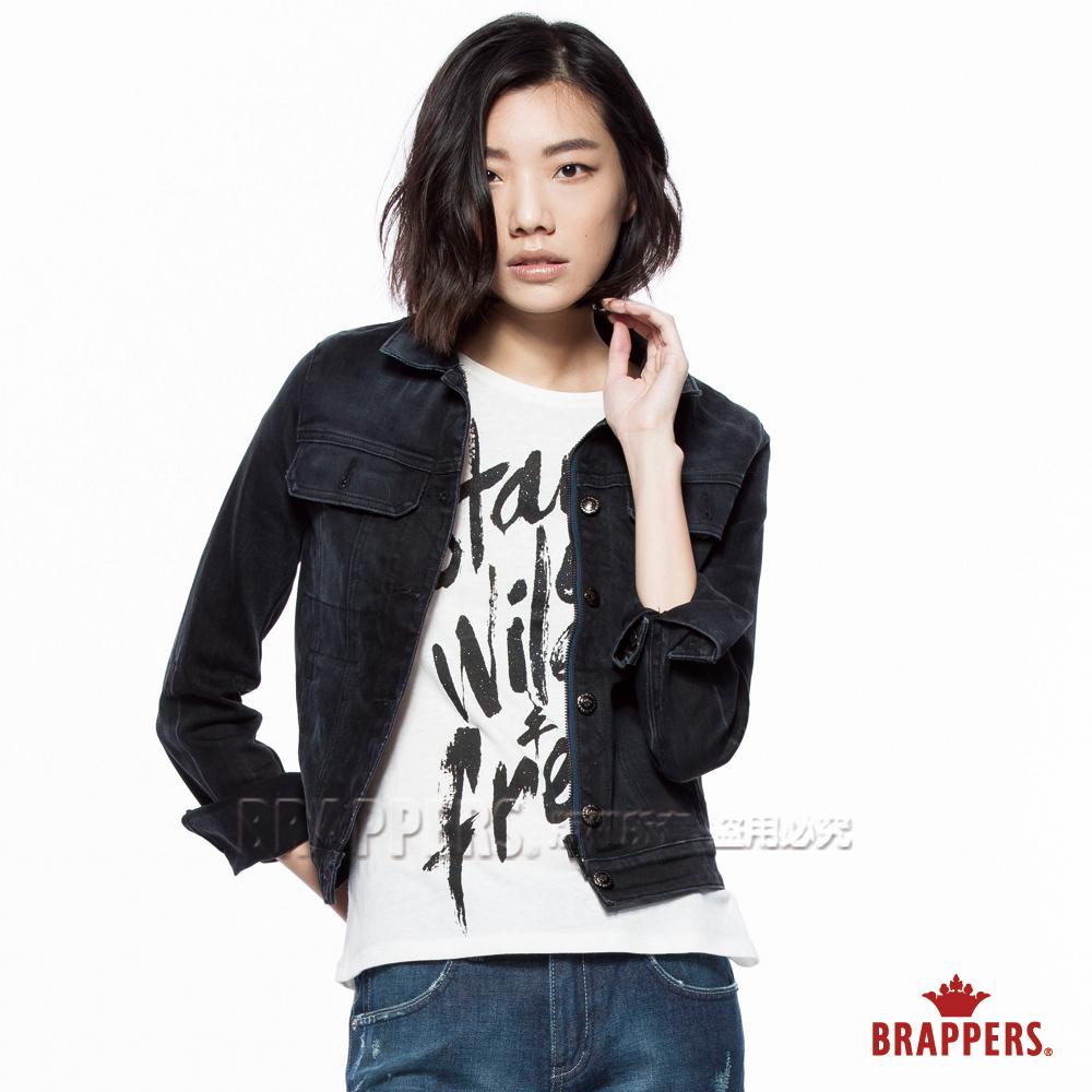 BRAPPERS 女款 Boy Friend牛仔夾克系列-女用彈性長袖外套-灰黑