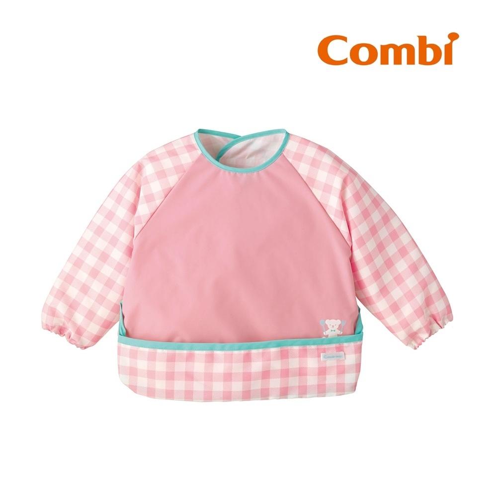 【Combi】Combimini 長袖食事圍兜- 小熊粉紅格紋