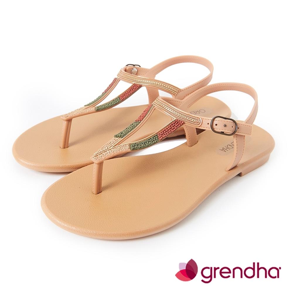 Grendha 異國風金屬串珠平底涼鞋-米黃