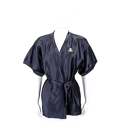 MOSCHINO 泰迪熊標誌絲滑感黑色綁帶短袖罩衫
