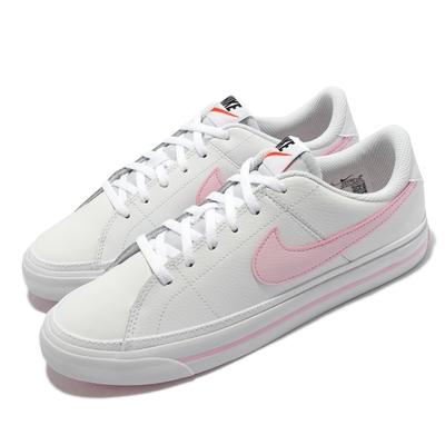 Nike 休閒鞋 Court Legacy GS 運動 女鞋 基本款 皮革 舒適 網球風格 大童 穿搭 白 粉 DA5380-109