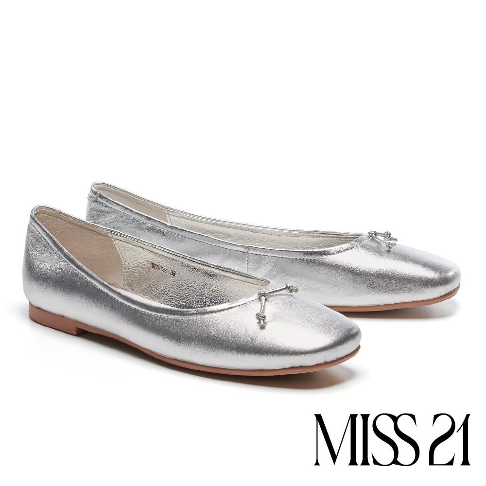 低跟鞋 MISS 21 簡約質感圓滾線帶羊皮方頭低跟鞋-銀