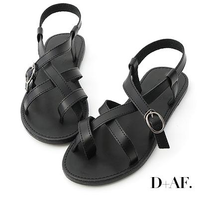D+AF 率真印象.交叉線條釦環平底涼鞋*黑