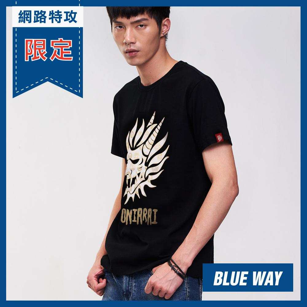 鬼洗 BLUE WAY 全台網路獨家- 印花鬼頭圓領T恤(黑)