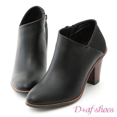 D+AF 優雅風尚.拼接設計側V口高跟短靴*黑