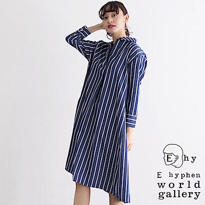 E hyphen 配色直條紋襯衫式連身洋裝