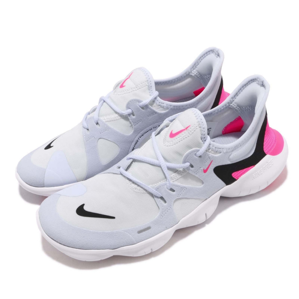 Nike 慢跑鞋 Free RN 5 低筒 運動 女鞋 JDI 白 藍 赤足 襪套式 運動鞋 AQ1316101