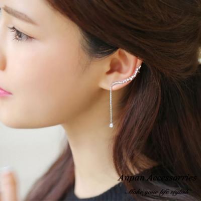 【ANPAN愛扮】韓東大門夢幻藤花水滴925銀針耳骨耳釘式耳環