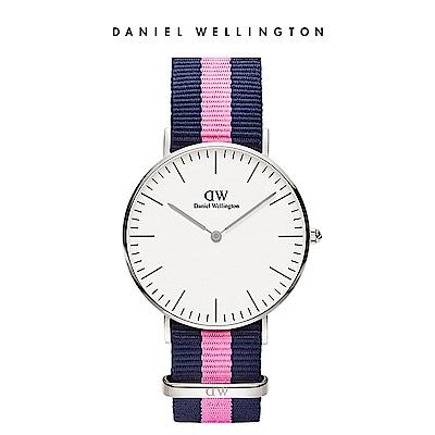 DW 手錶 官方旗艦店 36mm銀框 Classic 活潑藍粉織紋錶