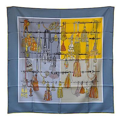 HERMES 經典PASSEMENTERIE系列繩索流蘇圖騰絲質方巾/披巾(灰藍色)