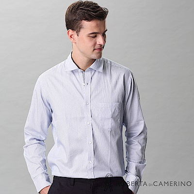 ROBERTA諾貝達 進口素材 台灣製 純棉水洗條紋長袖襯衫 藍色