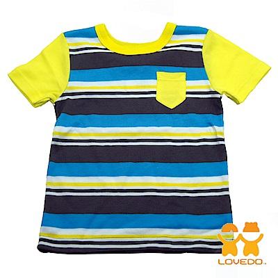 【LOVEDO-艾唯多童裝】悠閒時刻 拼色條紋短袖T恤 (藍灰)