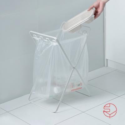 日本霜山 立地式可折疊多分類垃圾袋金屬掛架-白