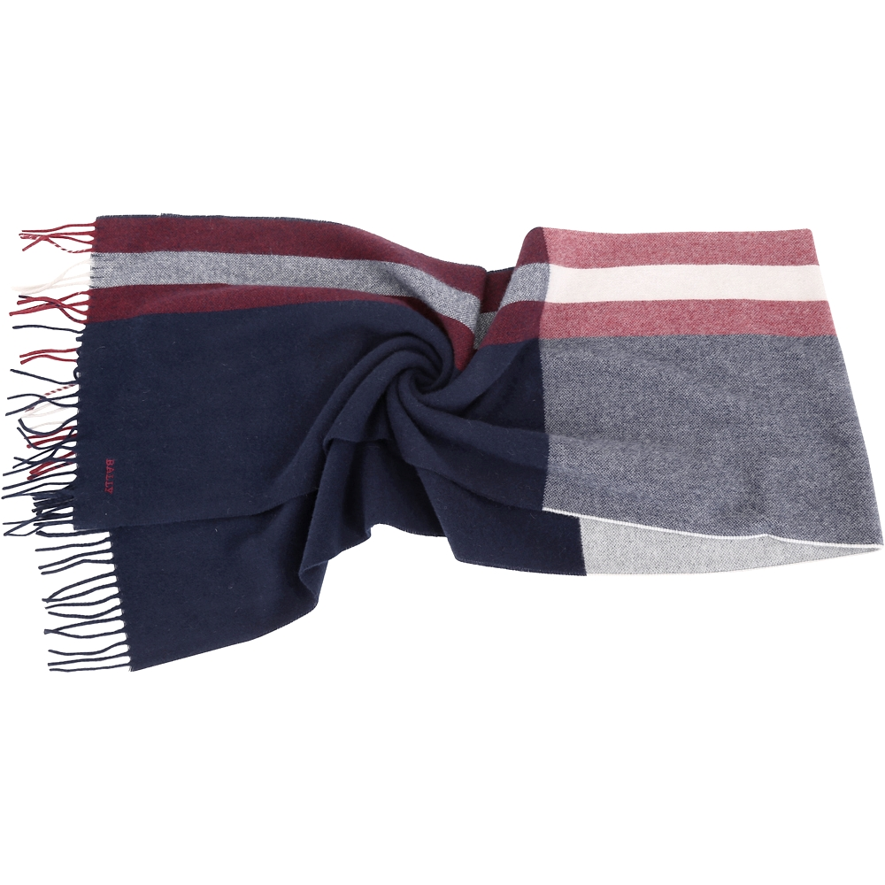 BALLY Trainspotting  雙色條紋混紡羊毛流蘇圍巾(深藍色)