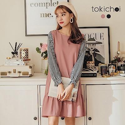 東京著衣 鄰家女孩條紋拼接魚尾荷葉裙洋裝-S.M(共二色)