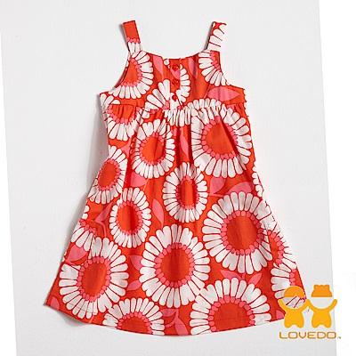【LOVEDO-艾唯多童裝】浪漫綻放 可愛無袖小洋裝(橘紅)