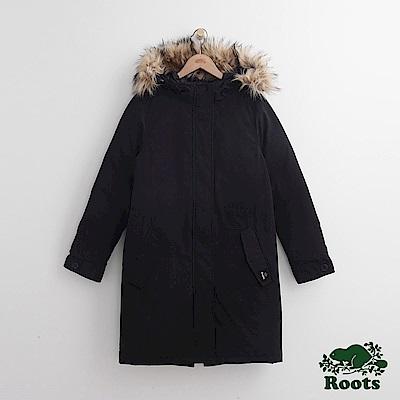 Roots 女裝- 旅人長版軍外套- 黑