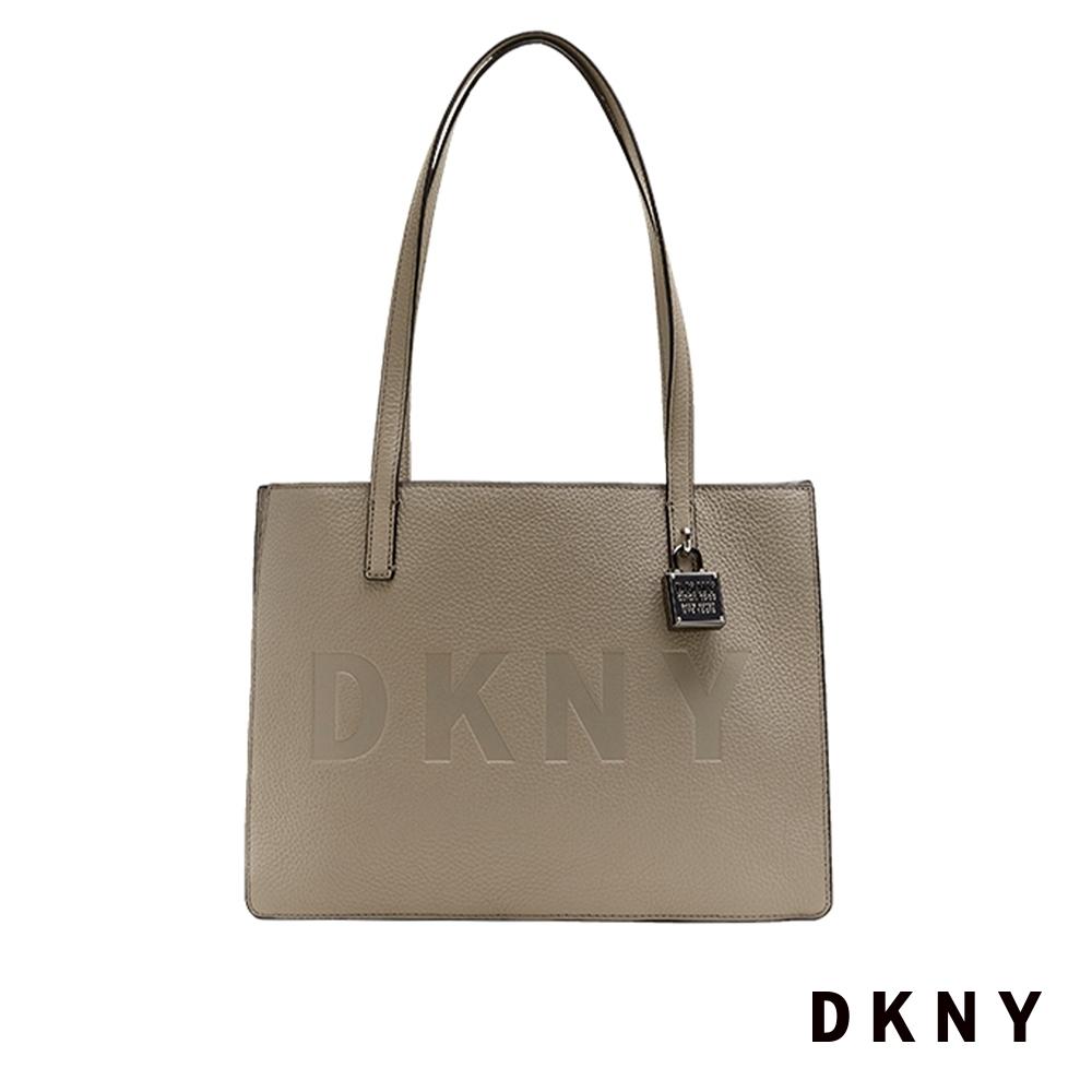 DKNY LOGO印字金屬鎖頭手提包 灰