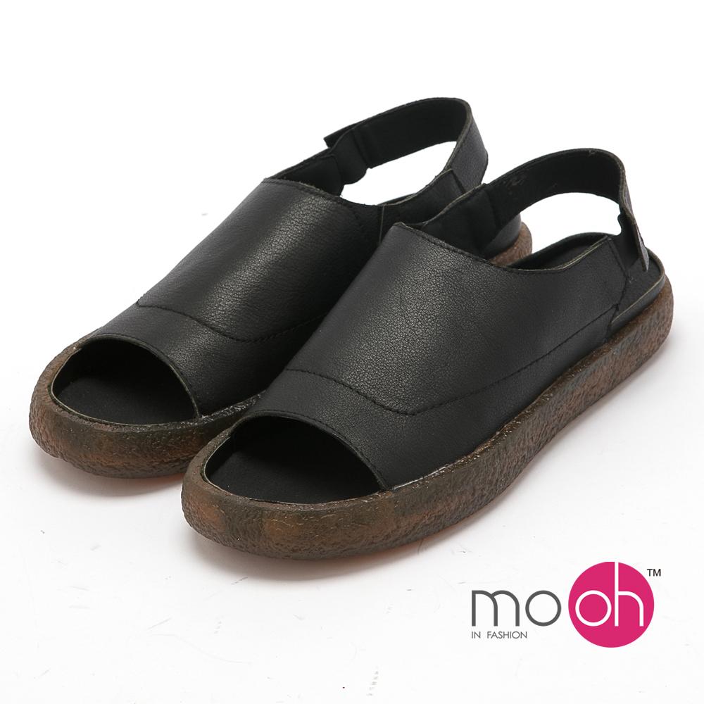 mo.oh - 全真皮-森林系圓頭舒適平底涼鞋-黑色