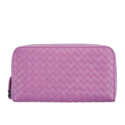 BOTTEGA VENETA 經典小羊皮簡約編織拉鍊長夾 (紫粉)