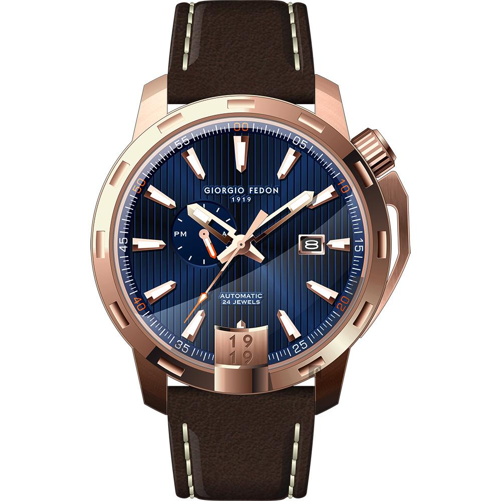 GIORGIO FEDON 1919 永恆系列運動版機械錶-藍x玫瑰金框/45mm