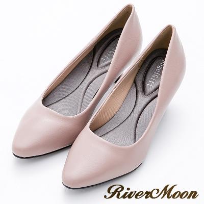 River&Moon百搭繽紛素面通勤記憶鞋墊尖頭跟鞋-藕粉