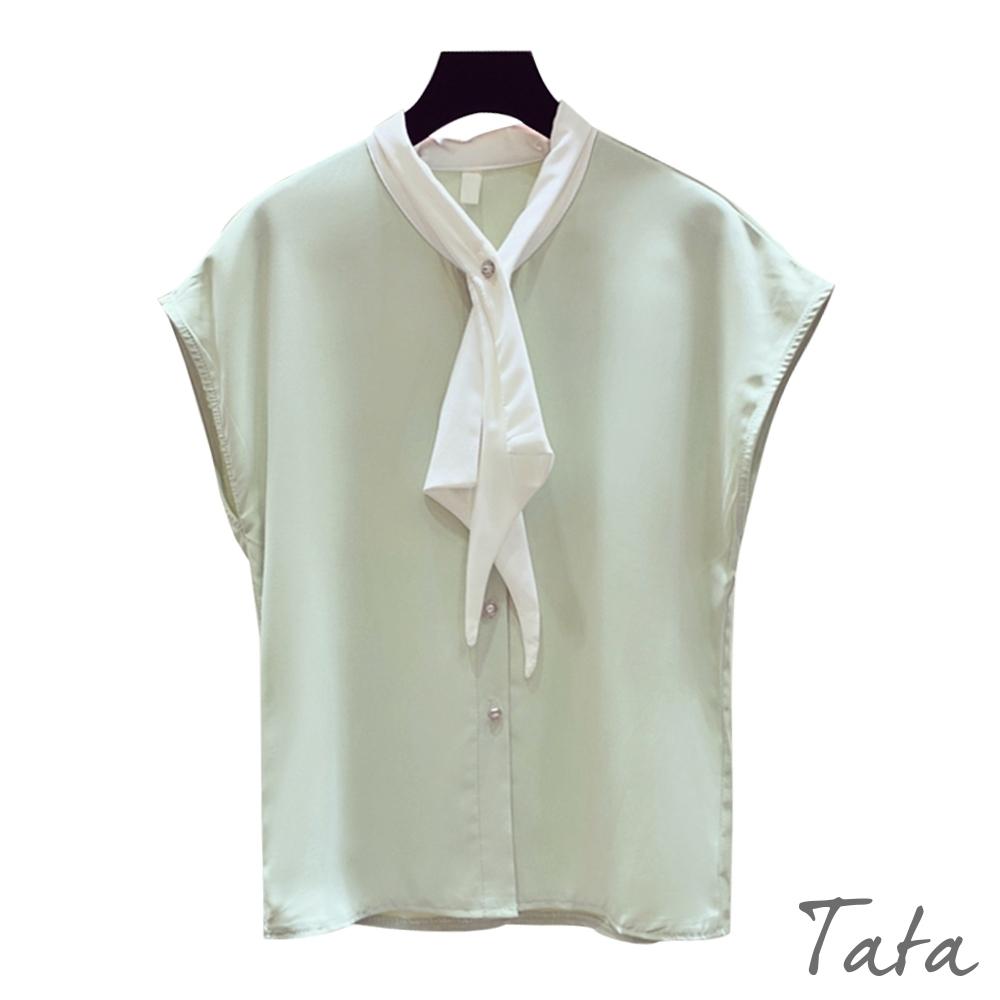 白領結排扣雪紡上衣 共三色 TATA-F