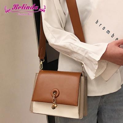 【Belinda】米堤復古綴飾撞色側背斜背包(焦糖色)