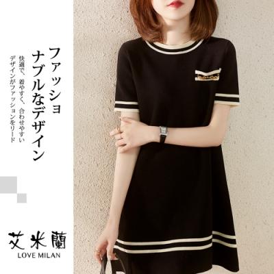 艾米蘭-韓系簡約圓領條紋洋裝-黑色(M-XL)