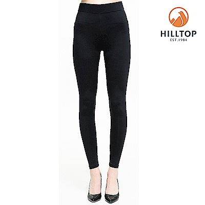 【hilltop山頂鳥】女款吸濕快乾消臭抗UV彈性內搭褲S07FI0黑美人