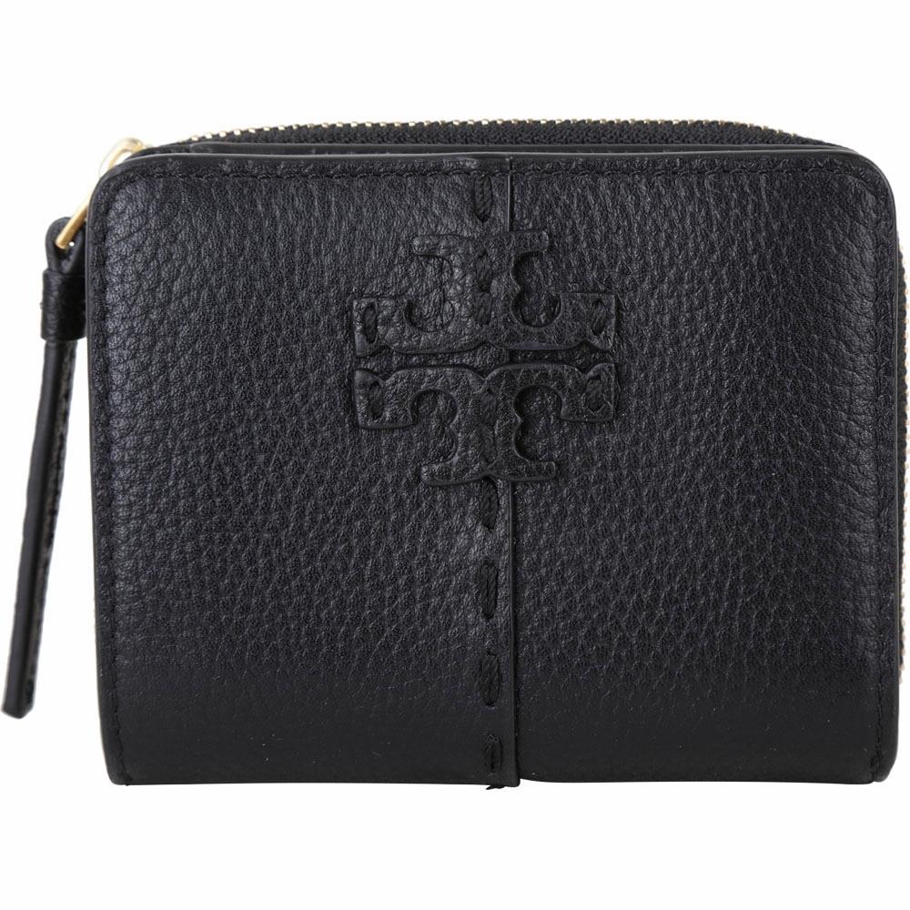TORY BURCH McGraw 縫線牛皮拉鍊零錢短夾(黑色)