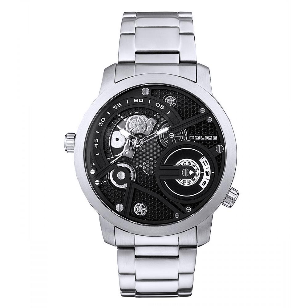 POLICE 王者風範雙時區時尚手錶-黑X銀/48mm