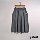 gozo-側口袋鬆緊休閒裙-深灰