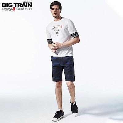 BigTrain 吸濕排汗深純棉藍迷彩短褲-男-丈青