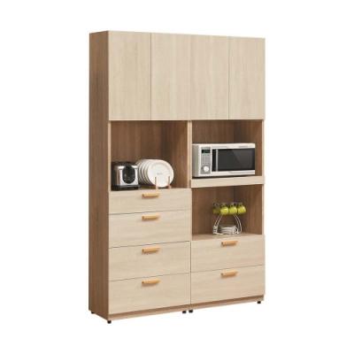 柏蒂家居-瑞莎4尺四門六抽拉盤式收納餐櫃/電器櫃組合-120x40x197cm