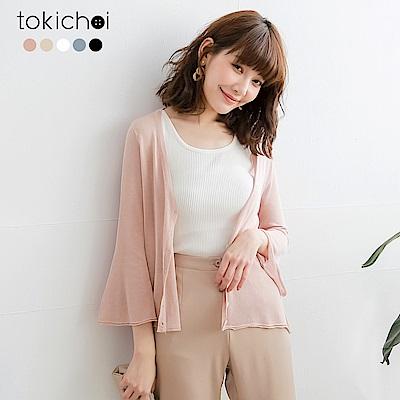 東京著衣 百搭好感喇叭袖透膚多色外套(共五色)