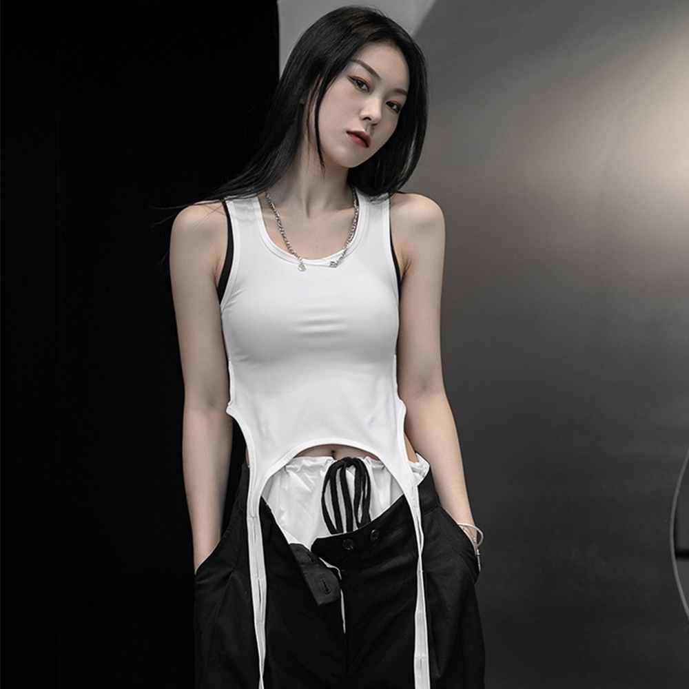 設計所在Style-韓版設計師款個性兩穿百搭顯瘦背心 (白色)