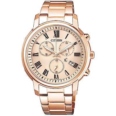 CITIZENxC星辰光動能三眼計時手錶FB1432-55X-玫瑰金/38mm