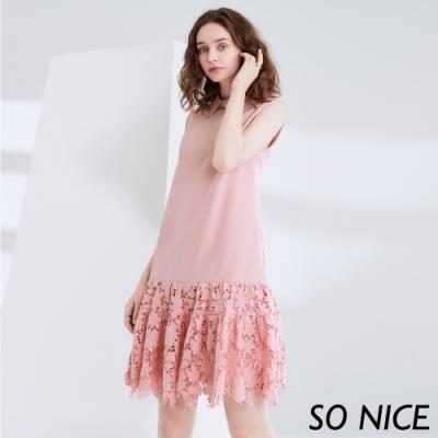 SO NICE浪漫蕾絲拼接造型洋裝