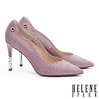 高跟鞋 HELENE SPARK 完美曲線奢華金蔥美型尖頭高跟鞋-粉