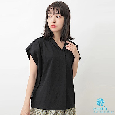 earth music 簡約法式袖小翻領打摺剪裁上衣