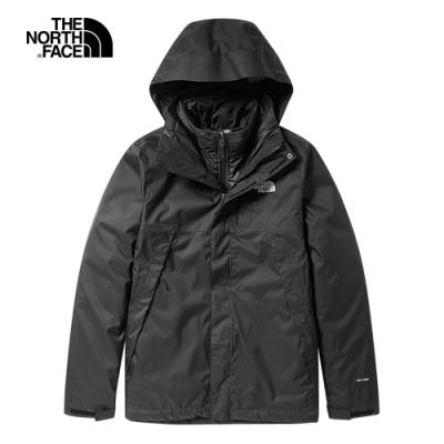 The North Face北面男款黑色防水透氣戶外三合一外套 3RKAJK3